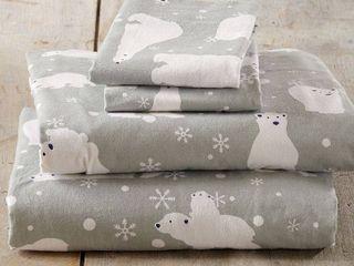 Queen Polar Bear Flannel Sheet Set