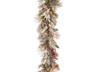 9ft lED Snowy Bedford Pine Garland