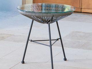 Woven Wicker Patio Side Table w  Glass Top