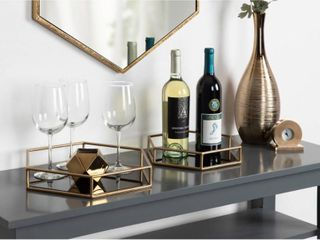 Two Kate   laurel Mirrored Nesting Trays