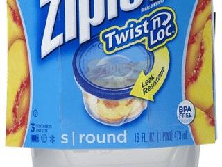 Three Ziploc Twist n loc 16oz Containers