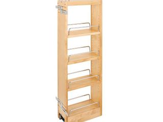 Brown 5 in x 36 in H Wood Pull Out Wall Organizer w Soft Close