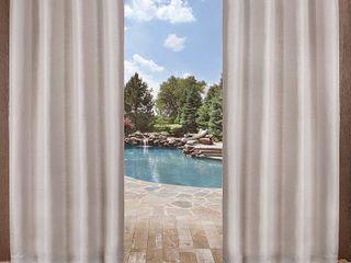 Set of 2   84in x 54in Delano Indoor Outdoor Heavy Textured Grommet Top Window Curtain Panel Silver   Exclusive Home