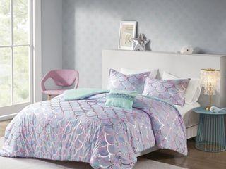 Full Queen 4pc Daphne Metallic Printed Reversible Comforter Set Aqua Purple
