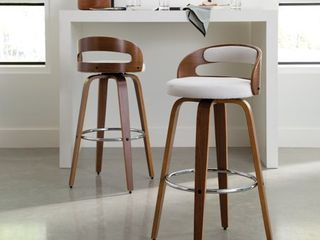 30in low Back Bentwood Frame Mid Century Modern Swivel Seat Barstool with Fabric Back and Cushion Beige   OFM