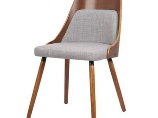 Walnut Plywood and Grey Fabric Dining Chair with Solid Wood legs Retail 113 49