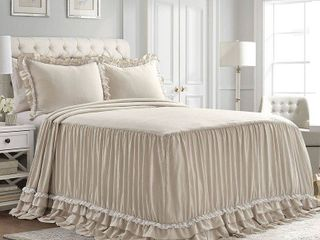 King 3pc Ella Shabby Chic Bedspread Set Neutral   lush Decor