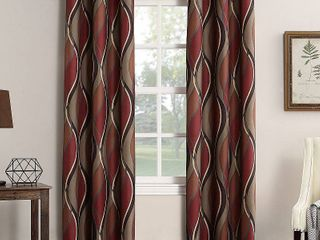 95x48 Intersect Wave Print Casual Textured Grommet Curtain Panel Paprika   No  918
