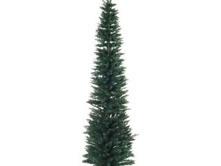 7ft PVC Unlit Slim Pencil Hinged Artificial Noble Fir Christmas Tree  390 Branch Tips  Stand  Green
