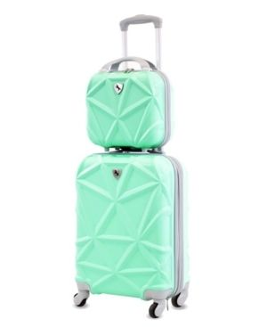 Mint AMKA Gem 2 Piece Carry On 20 12in Cosmetic Weekender luggage Set