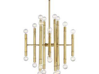 Meridian 24 light Chandelier   Natural Brass