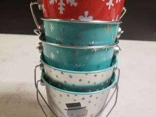 lot of 5 Metal Christmas Buckets