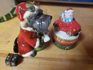 Christmas Dog Ornament and Santa Trinket Box