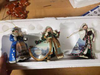 Thomas Kinkade Old World Santa Set of 3 Ornaments