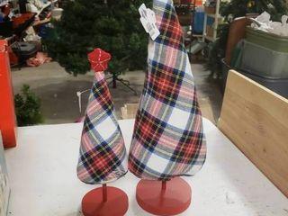 Pair of Plaid Plush Christmas Trees