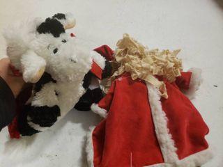 Santa Claus and Cow in Santa Hat