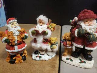 lot of 3 Santas with Bears Figurine