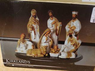 Kirkland s White and Gold Ceramic Nativity Set