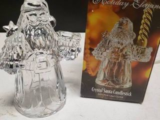 Holiday Elegance 24  Fine lead Crystal Santa Candlestick Holder