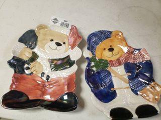 lot of 2 Christmas Bear Plates