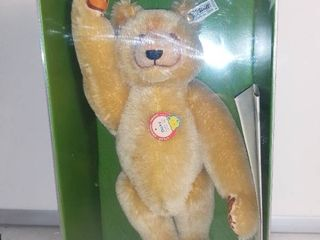 1985 13 Inch Steiff Mohair Teddy Bear   Dicky   1930 Reproduction With Box and Certificate