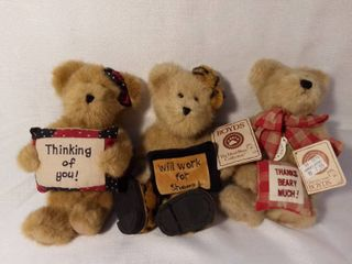 lot of 3 Boyds Bears with Original Tag The Head Bean Collection