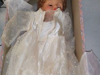 large Doll With Functional Eyes And Wedding Dress