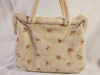Vintage Corde Beaded Flowered White Evening Bag and Wallet
