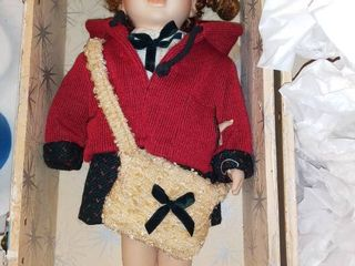 Beautiful Porcelain Doll With It s Own Decorated Wooden Carrying Case