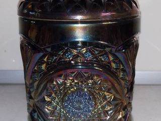Imperial Glass Hobstar Biscuit Jar Carnival Glass