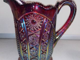 Vintage Indiana Carnival Glass Red Pitcher