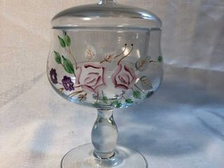 Hand Painted Glass Candy Dish with lid location Shelf 5