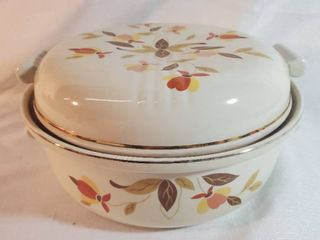 HAllS Kitchenware  Casserole Dish With lid  Autumn Floral Design with Gilded Ring
