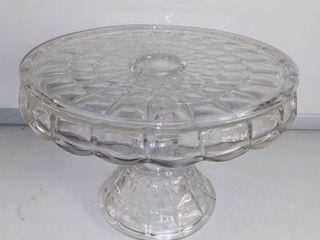Pretty Pressed Glass Pedestal Cake Stand