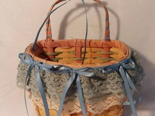 Small Hanging Basket with lace and Blue Ribbon