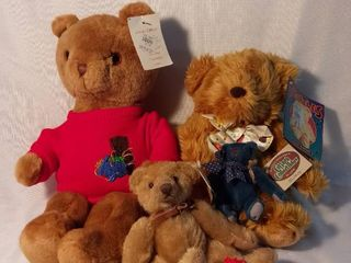 lot of 5 Various Sized Stuffed Bears with Accessories