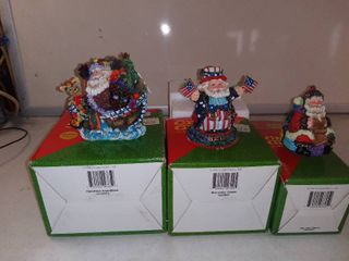 lot Of 3 Crinkle Claus Figurines