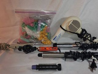 lot of 4 Electric Curling Irons with Electric Hair Dryer  with Bag Full of Velcro Curlers