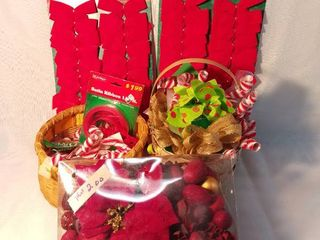 lot of Christmas Bows Ribbon and Christmas Potpourri with Two Baskets