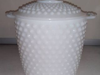 Vintage Hobnail Milk Glass Cookie Jar Ice Bucket With lid
