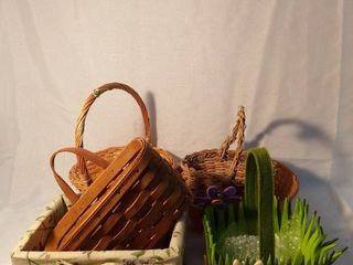 lot of 6 Various Sized Baskets One of them is longaberger Basket