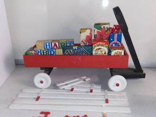 little Red Christmas Wagon With Presents and Wood Blocks