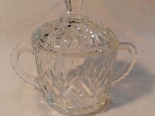 Etched Crystal Sugar Dish with lid