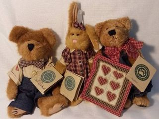 lot of 3 Boyds Bears From the Quilt Patch Series  with Original Tags