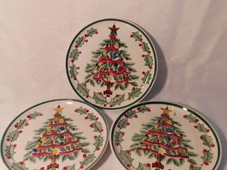 lot of 3 lefton 1957 Christmas Tree Decorative Plates