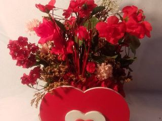 Wooden Valentine s Vase with Plastic Flowers