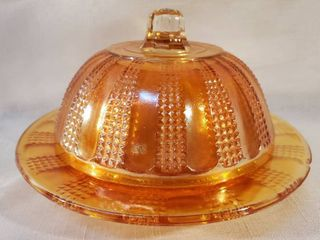 Vintage Marigold Amber Carnival Glass Candy Dish