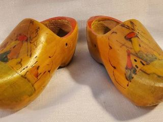 PAIR of Small Wooden Holland Clogs with Windmill Design