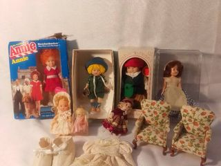 lot of 7 Dolls with some Various Doll Accessories