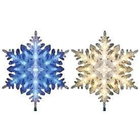 GE 3 5 in Pre lit Color Changing lED Plastic Snowflake Silver Christmas Tree Topper